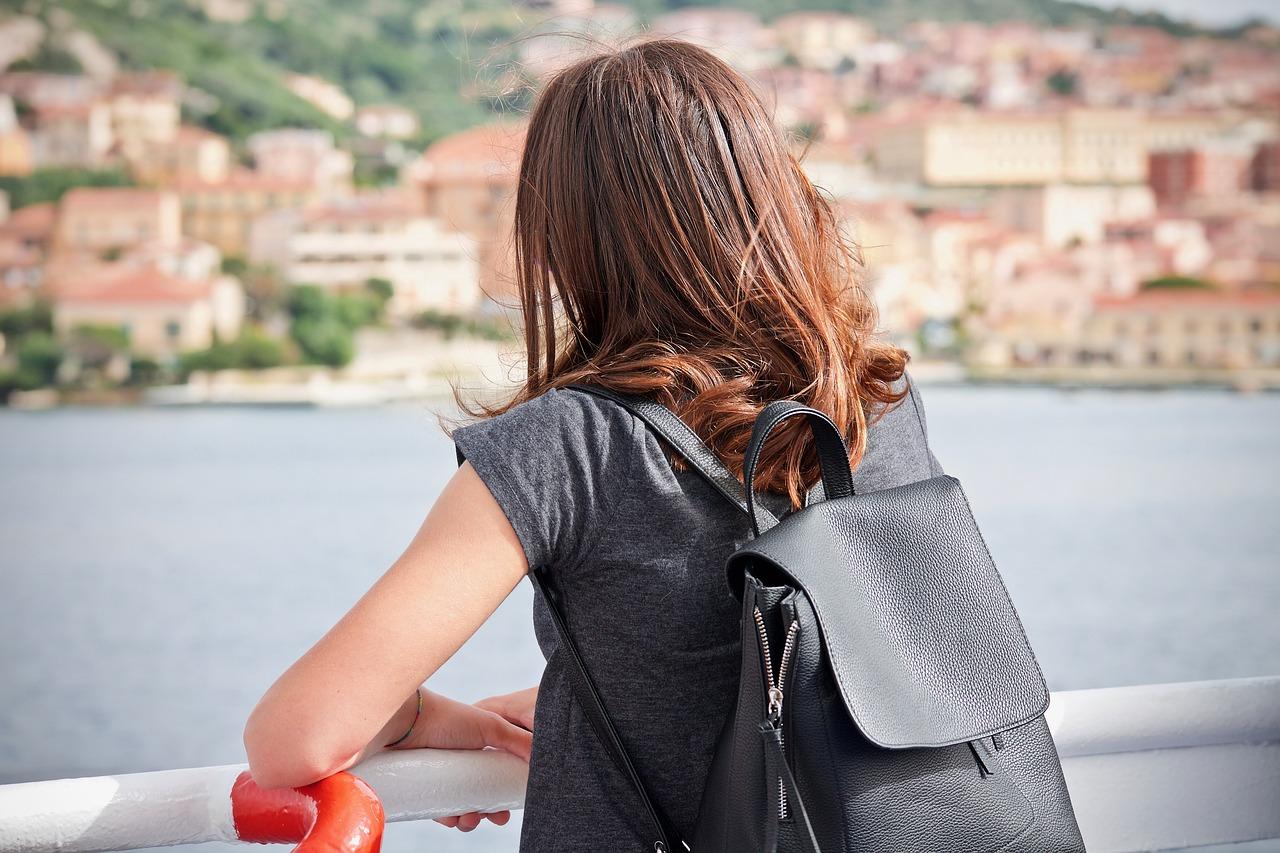 girl, back, landscape