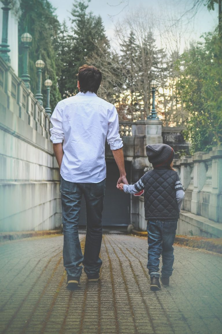 father, son, walking
